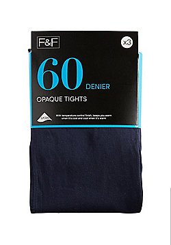 F&F 3 Pack of 60 Denier Temperature Control Opaque Tights - Navy