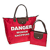 Danger Woman Shopping Fold Up Large Shopping Bag