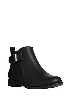 F&F Wide Fit Buckle Trim Chelsea Boots - Black