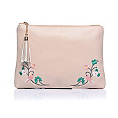 Dusty Pink Embroidered Bird Make Up Bag