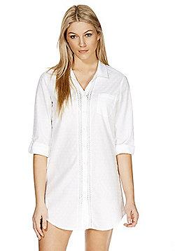 F&F Lace Trim Textured Dobby Nightshirt - White