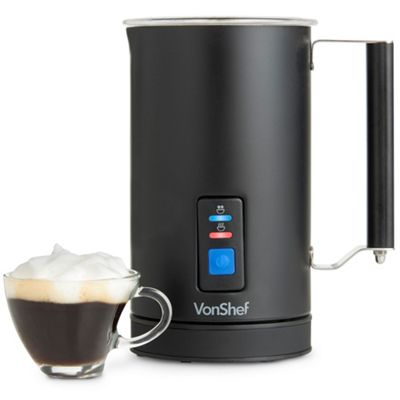 VonShef Electric Milk Frother And Warmer Matte Black