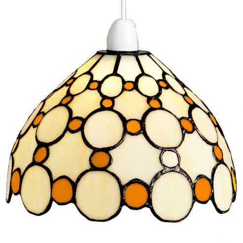 Loxton Lighting Tiffany Bistro 1 Light Dome Small Circles Shade - Beige / Brown