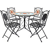 Charles Bentley 4 Seater Terracotta Mosaic Wrought Iron Dining Set