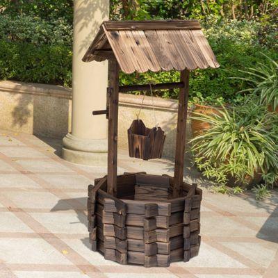 Buy Outsunny Wooden Wishing Well Planter Flower Pot Garden Decor W