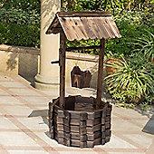 Outsunny Wooden Wishing Well Planter Flower Pot Garden Decor w/ Bucket