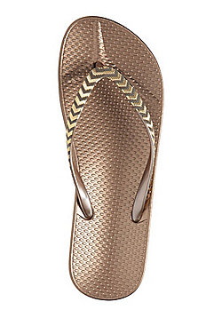 F&F Beaded Flip Flops - Bronze