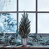 Frosted Mini Christmas Tree with Zinc Pot