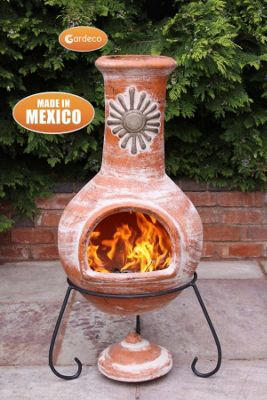 Extra large Mexican Chimenea Sol Rustic Orange