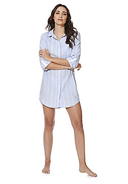 F&F Striped Woven Nightshirt - Light blue