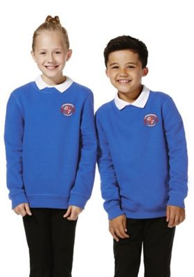 Unisex Embroidered Cotton Blend School Sweatshirt with As New Technology 5-6 years Royal blue