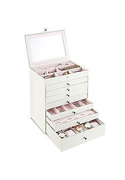 Beautify Jewellery Box with 7 Drawers - White Snake Skin Print with Pink Velvet Lining