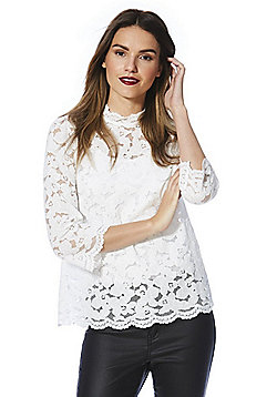 F&F High Neck Lace Top - Ivory