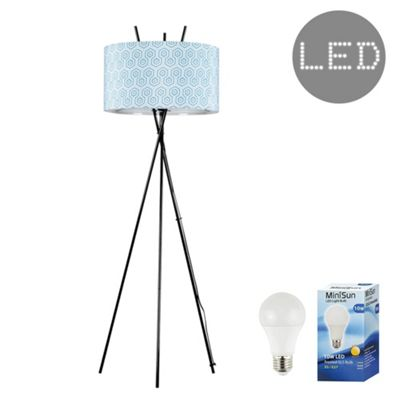 Crawford Black Tripod LED Floor Lamp - Black & Geometric
