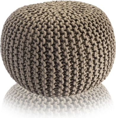 Snug City Tan Knitted Pouffe Chunky Round Footstool Ottoman 100% Cotton Handmade