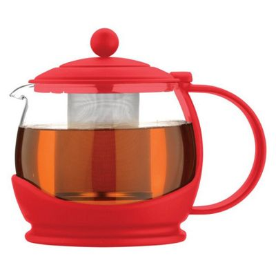 Cafe Ole Glass Teapot with Infuser, 0.7L, Red