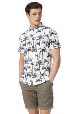F&F Palm Tree Print Short Sleeve Shirt White Multi 3XL