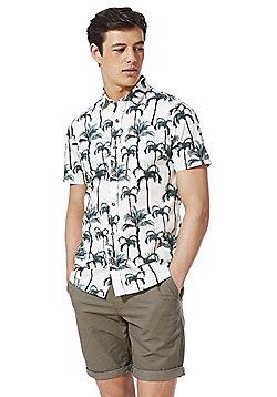 F&F Palm Tree Print Short Sleeve Shirt - White Multi