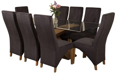 Valencia Large Oak 200cm Modern Glass Dining Set Table and 8 Black Fabric Chairs