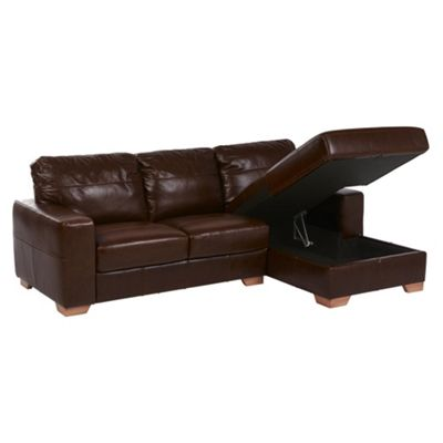 Abbott Right Hand Corner Chaise with storage, Chocolate Brown