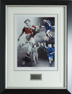 Sir Bobby Charlton Signed Man Utd 1968 print-Manchester United & England -COA
