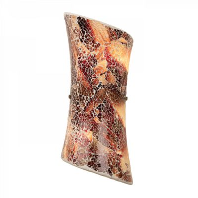 Mosaic Mixed Dark Colour Glass & Satin Nickel Effect Plate 2lt Wall 40W