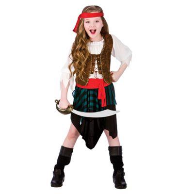 Caribbean Pirate Girl Childrens Fancy Dress Costume Shirt, Skirt & Bandana-Small 3-4 Years