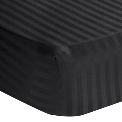 Homescapes Black Egyptian Cotton Satin Stripe Fitted Sheet 330 TC, Single