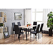 Chester Wooden Dining Set With 6 Black Montero Chairs