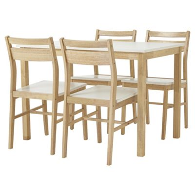 Hatten Dining Table And 4 Chair Set Oak Effect White Buy From Tesco