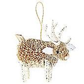 Glitter Woodland Reindeer Christmas Decoration