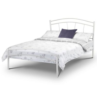 Happy Beds Miah Metal High Foot End Bed with Memory Foam Mattress - White - 4ft6 Double