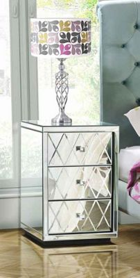 My-Furniture Knightsbridge Mirrored Bedside Table with 3 Drawers