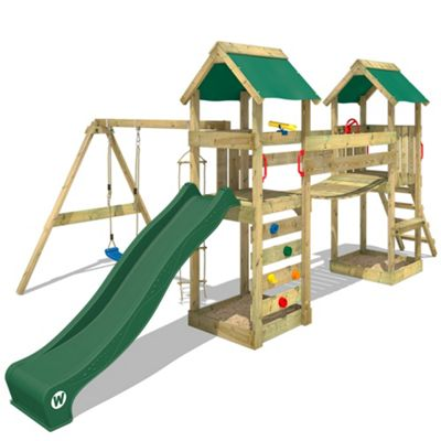 Wooden Climbing Frame WICKEY SunFlyer With Green Slide