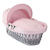 Clair de Lune Grey Wicker Moses Basket (Dimple Pink)