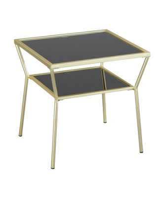 Fusion Glass Side End Table,Brass/Black