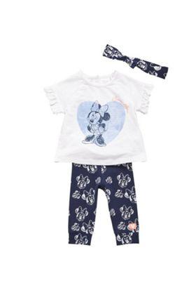 Disney Minnie Mouse T-Shirt, Leggings and Headband Set White/Navy 6-9 months