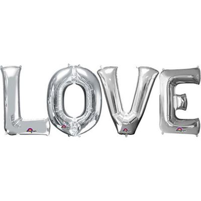 LOVE Silver Foil Balloon Kit - 34 inch