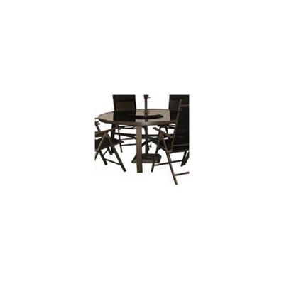 Royal Craft Monaco/Valencia Round Glass Table with Lazy Susan - Black