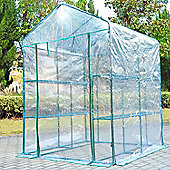 Outsunny Clear PVC Walk In Greenhouse Garden with Shelving 143L x 143W x 195H