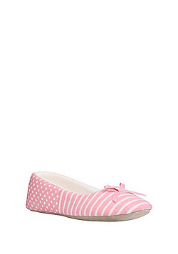 F&F Striped and Polka Dot Ballerina Slippers - Pink