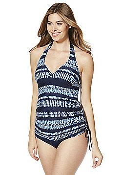 F&F Halterneck Tie Dye Print Maternity Tankini Top - Blue