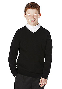 F&F School Unisex V-Neck Jumper with As New Technology - Black