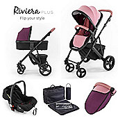 Riviera Plus 3 in 1 Black Travel System - Dusty Pink / Plum