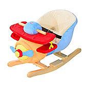 Homcom Kids Rocking Animal Infant Plush Seat w/ Safety Belt (Multi-Colour Airplane)