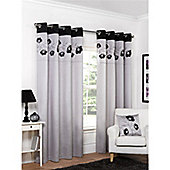 Hamilton McBride Denby Lined Ring Top Curtains - Charcoal