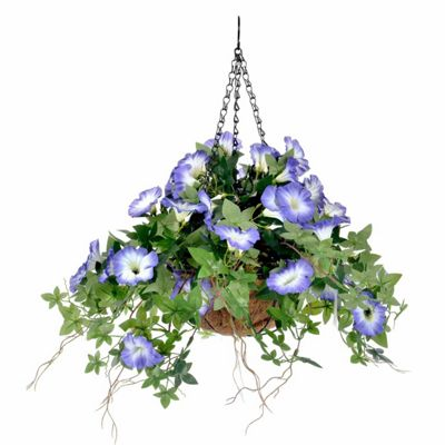 Homescapes Purple Morning Glory Artificial Trailing Flower Hanging Basket