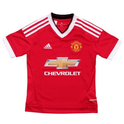 adidas Manchester United 2015/16 Kids Home Replica Jersey Shirt Red - 15-16 Years