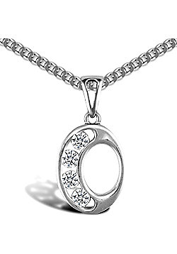 Sterling Silver Cubic Zirconia Identity Pendant - Initial O - 18inch Chain