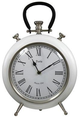 Paris White Round Table Clock Copper Leather Handle